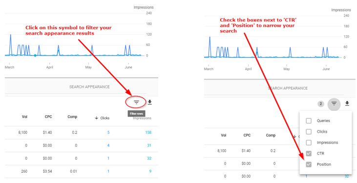 Search Console Filitered Data