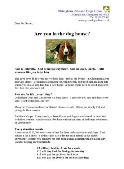 Cats & Dogs Home Sales Letter