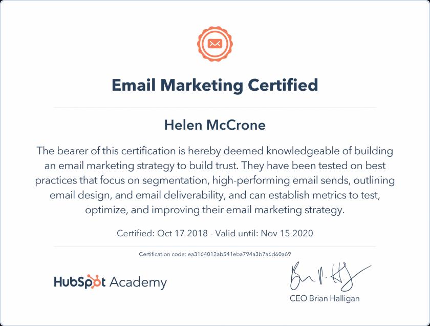 HubSpot Email Marketing Certificate