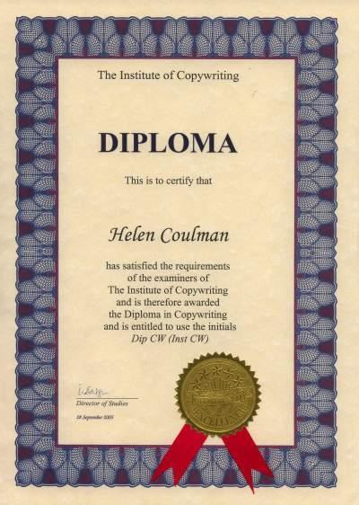 Copywriting Certificate 2005 Helen McCrone
