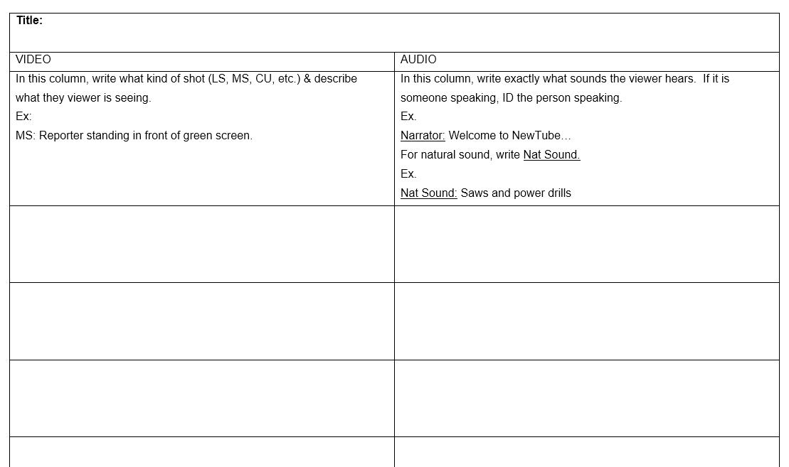 2-Column script-writing template for videos