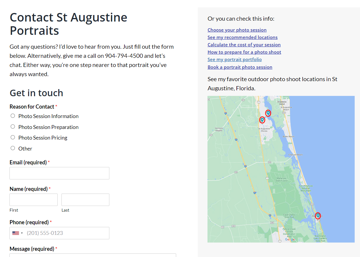 Contact page of a local website