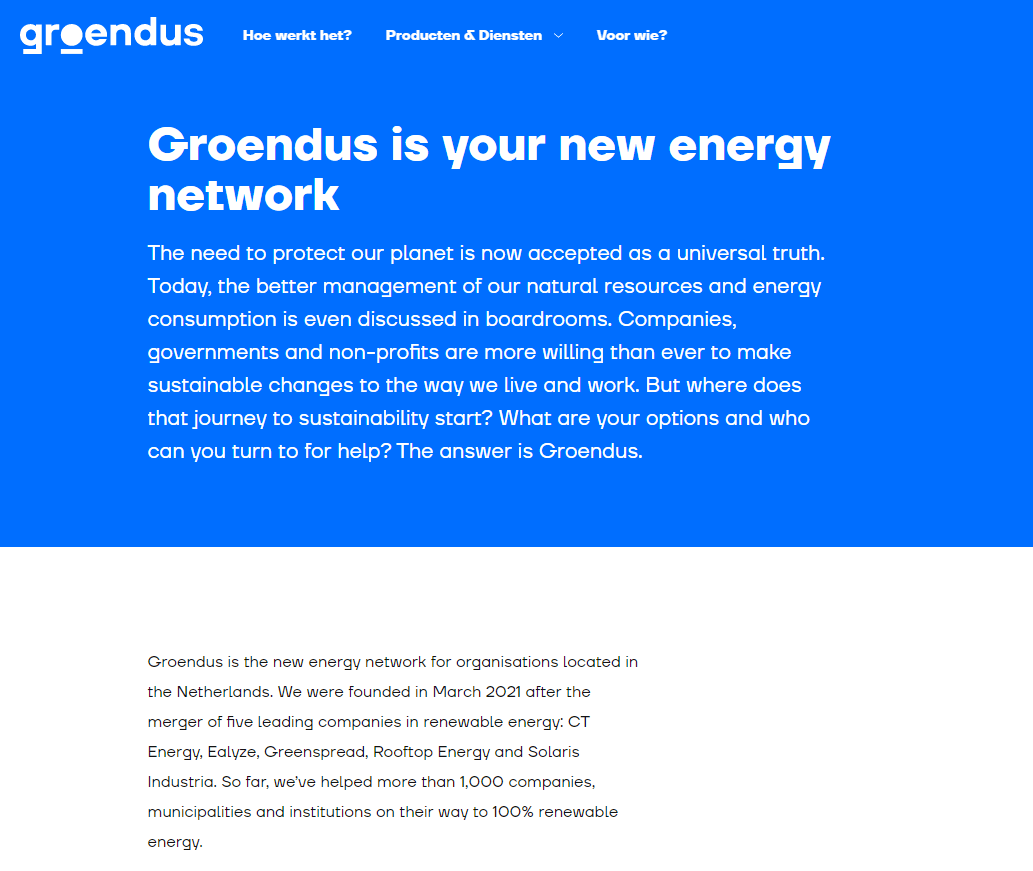 English landing page for Dutch green energy supplier